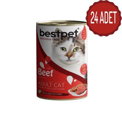 Best Pet - Bestpet Biftekli Konserve Kedi Maması 415 gr x 24