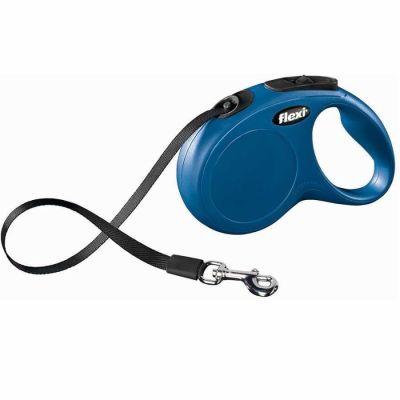 Flexi - Flexi New Classic Otomatik Şerit Köpek Gezdirme Tasması XS 12 KG 3M Mavi