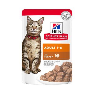 Hills - Hills Chunks & Gravy Hindili Yetişkin Kedi Konservesi 85 Gr - 12 ADET