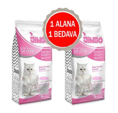 Jingo - Jingo Bebek Pudrası Kokulu Bentonit Kedi Kumu Kalın Taneli 10 L - 2 ADET