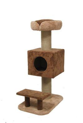 Miapet - Miapet Lüks Kedi Evi ve Tırmalama Joyful Cat Kahverengi 64x117x46 cm