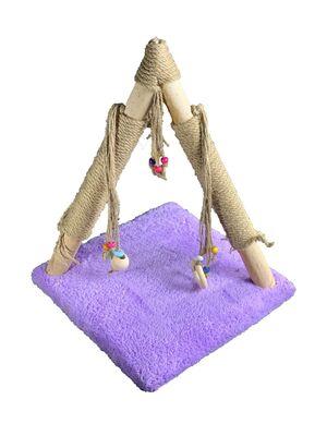Miapet - Miapet Ahşap Üçgen Kedi Tırmalama Tahtası Lila