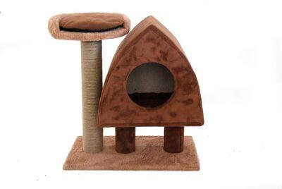 Miapet - Miapet Lüks Kedi Evi ve Tırmalama Cats Pure Love Kahverengi 50x30x59 cm