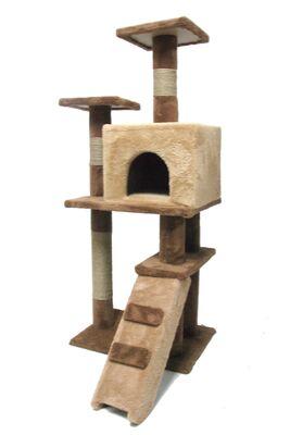 Miapet - Miapet Lüks Kedi Evi ve Tırmalama Miss Cat Kahverengi 55x45x130 cm