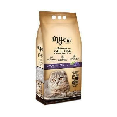 Mycat - Mycat Lavanta Kokulu Topaklaşan Ince Taneli Kedi Kumu 5 Lt
