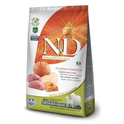 N&D - N&D Tahılsız Balkabaklı Domuzlu Medium Maxi Köpek Maması 2,5Kg