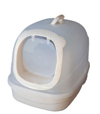 Diğer - Şeffaf Kapalı Kedi Tuvaleti Krem Alt 63x46x47