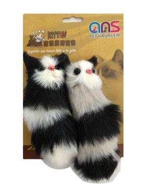 Diğer - Tüylü Sesli Kedi Oyuncağı 16 Cm Siyah Beyaz